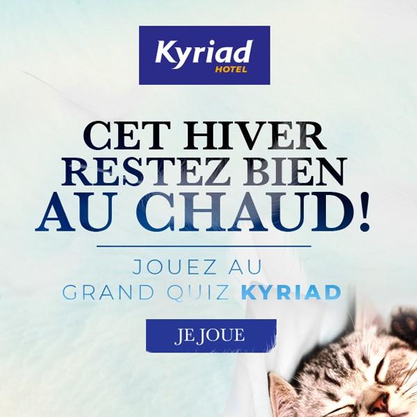 """Création graphique pour le jeu de la chaine hôtelière Kyriad """" cet hiver restez bien au chaud"""", création de Yod Infographie."""