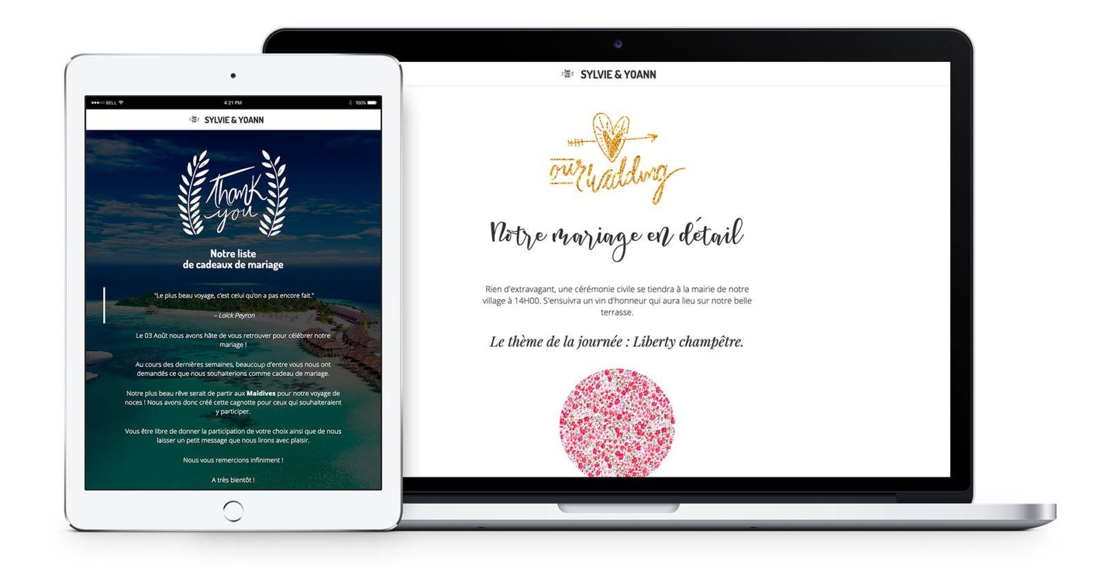 Sylvie & Yoann site internet mariage